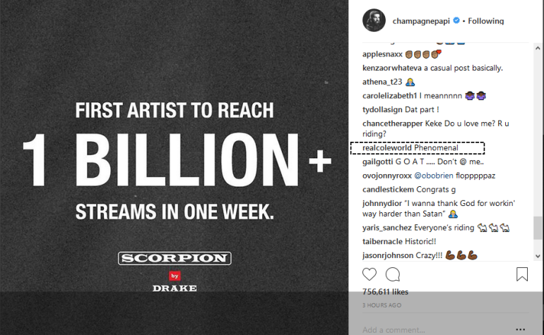 drake 1 billion streams